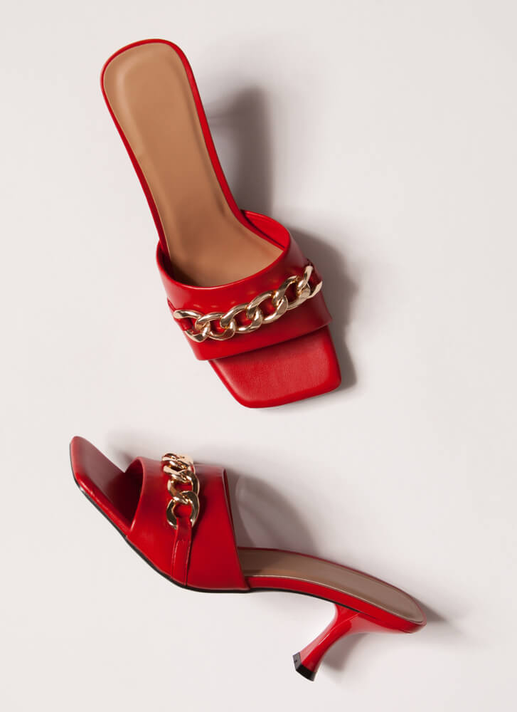 Links And The City Chained Mule Heels RED