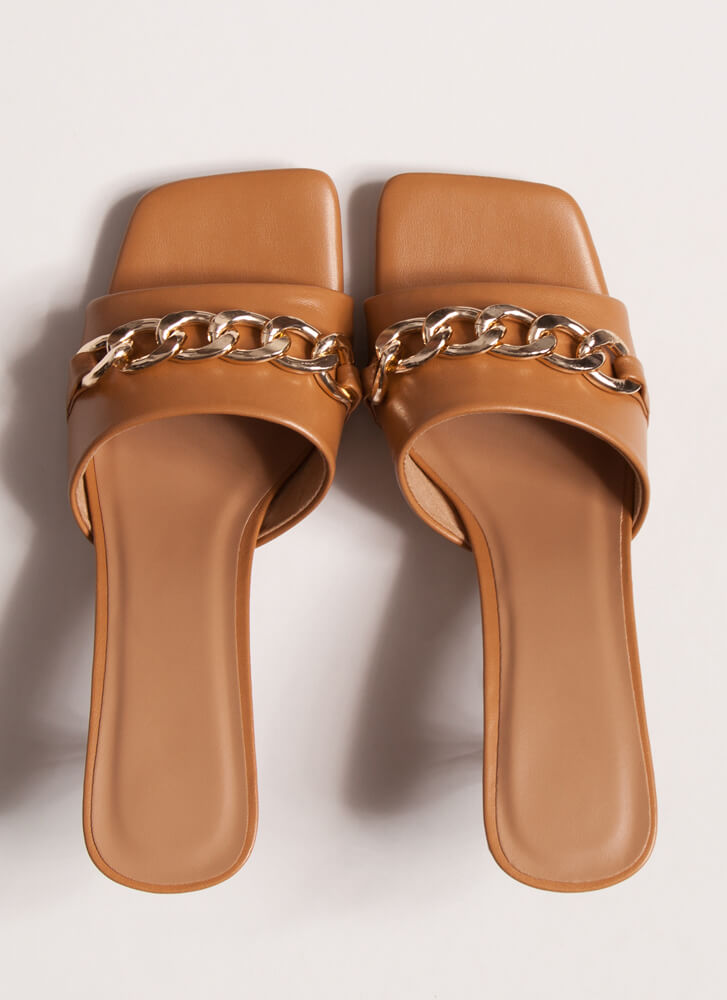 Links And The City Chained Mule Heels TAN