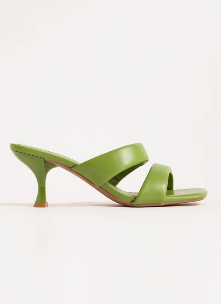 Ones And Twos Faux Leather Mule Heels LTOLIVE