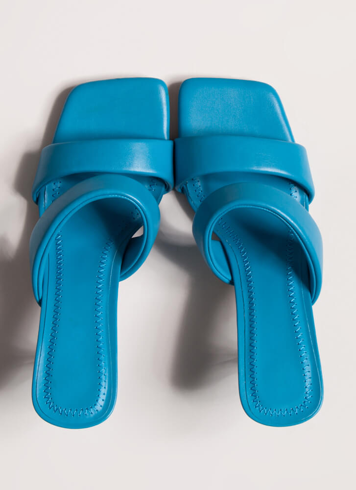 Ones And Twos Faux Leather Mule Heels TURQUOISE