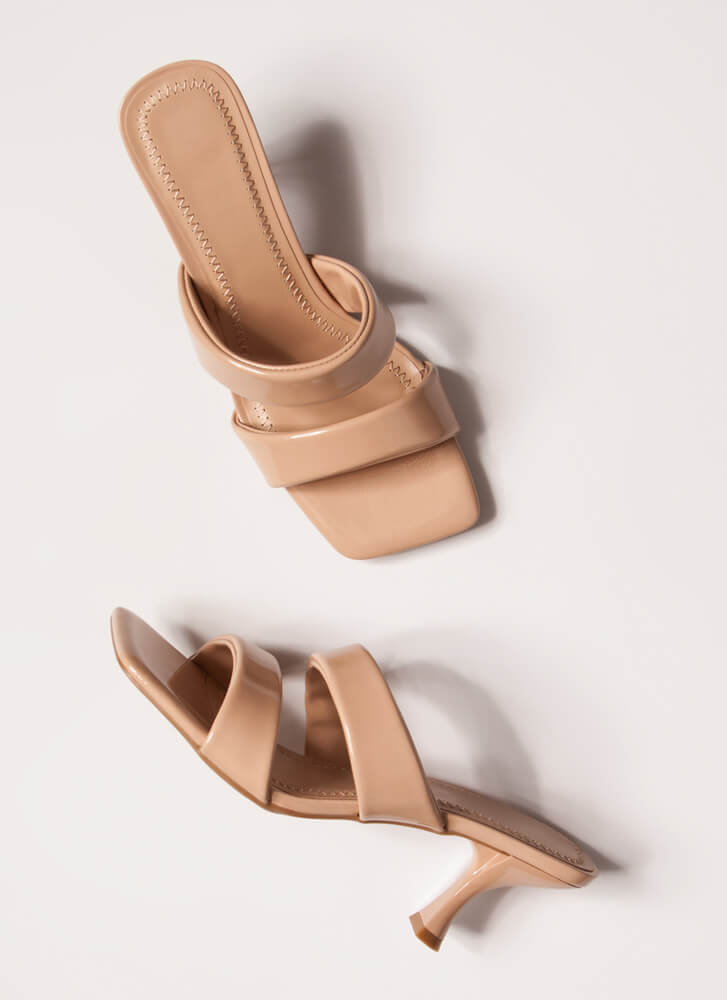 Ones And Twos Faux Patent Mule Heels NUDE