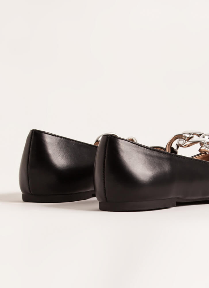 Connect Faux Leather Chain Link Flats BLACK