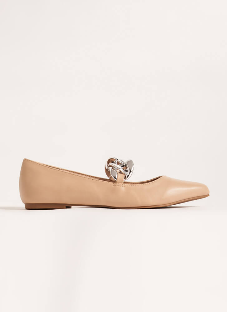 Connect Faux Leather Chain Link Flats CAMEL