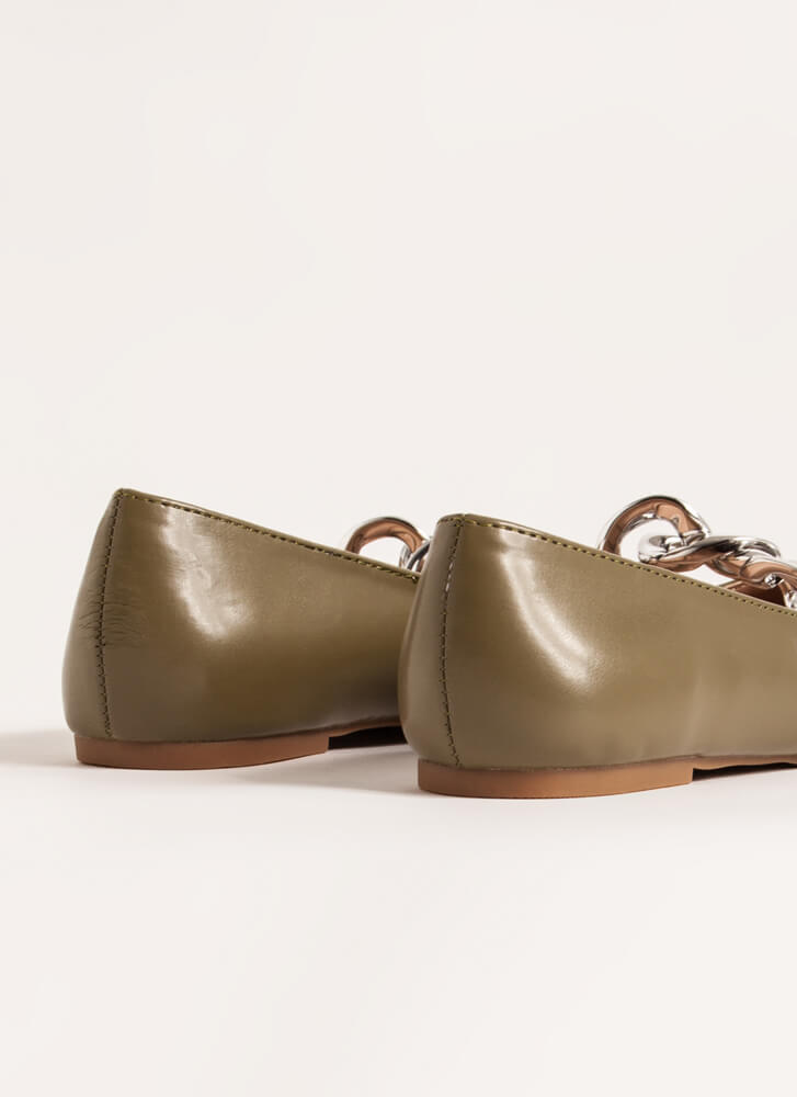 Connect Faux Leather Chain Link Flats OLIVE
