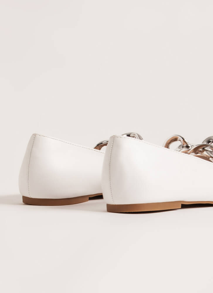Connect Faux Leather Chain Link Flats WHITE