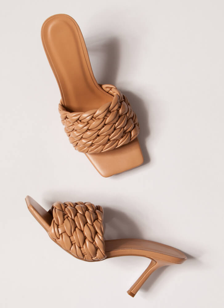 Weave A Message Braided Mule Heels NATURAL