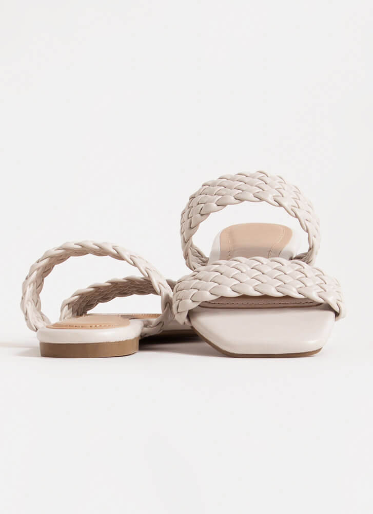 Cool Down Woven Strap Slide Sandals IVORY