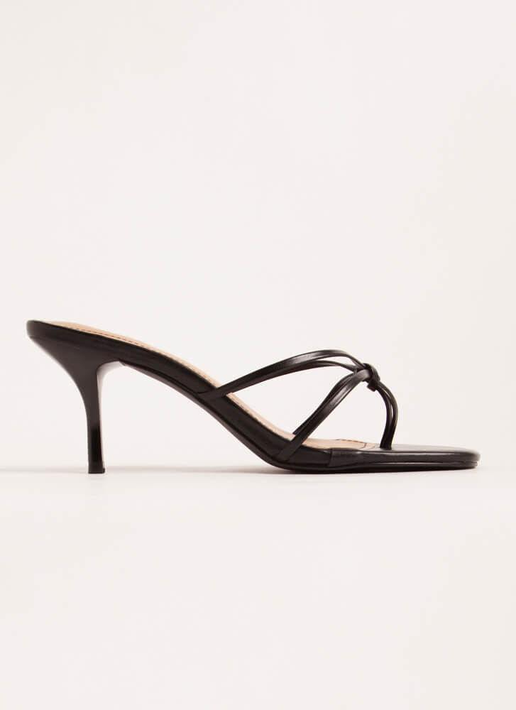 Knot Gonna Lie Strappy Thong Heels BLACK