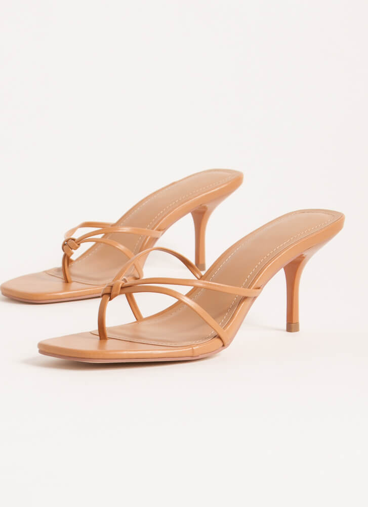 Knot Gonna Lie Strappy Thong Heels TAN