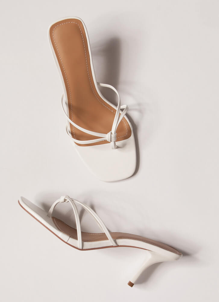 Knot Gonna Lie Strappy Thong Heels WHITE