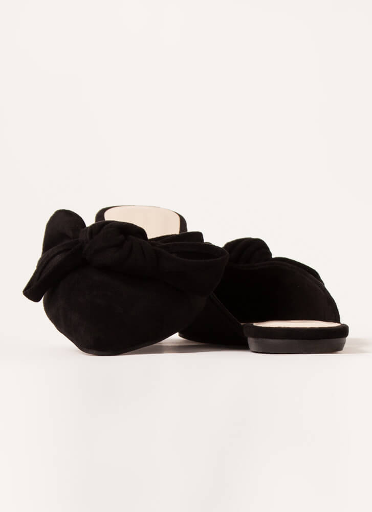 Wrapped With A Bow Pointy Mule Flats BLACK