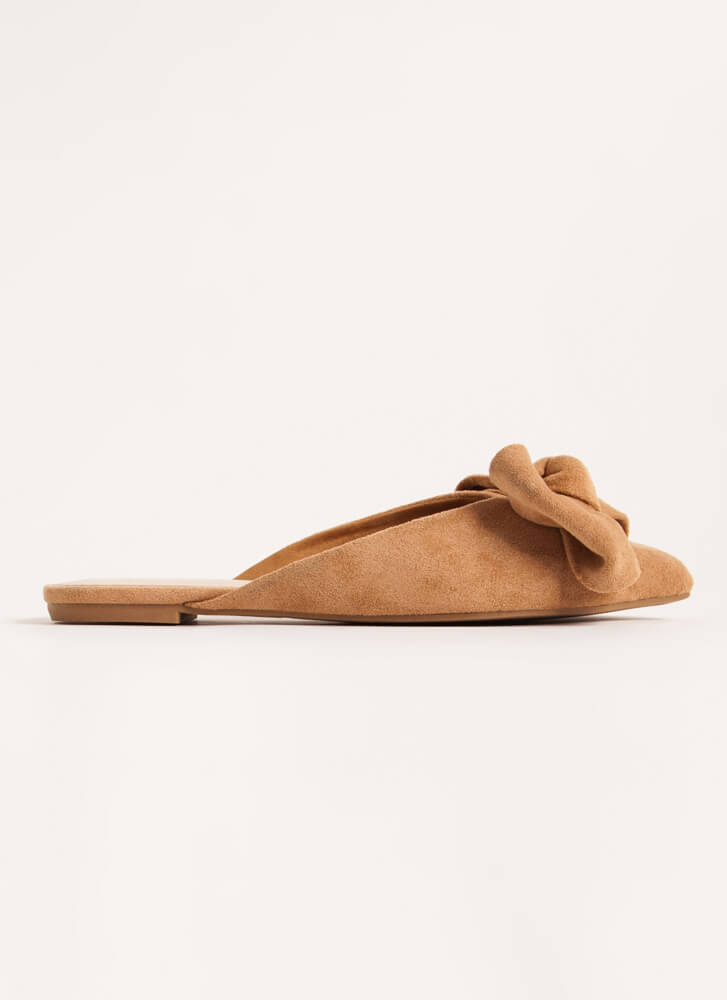 Wrapped With A Bow Pointy Mule Flats TAN