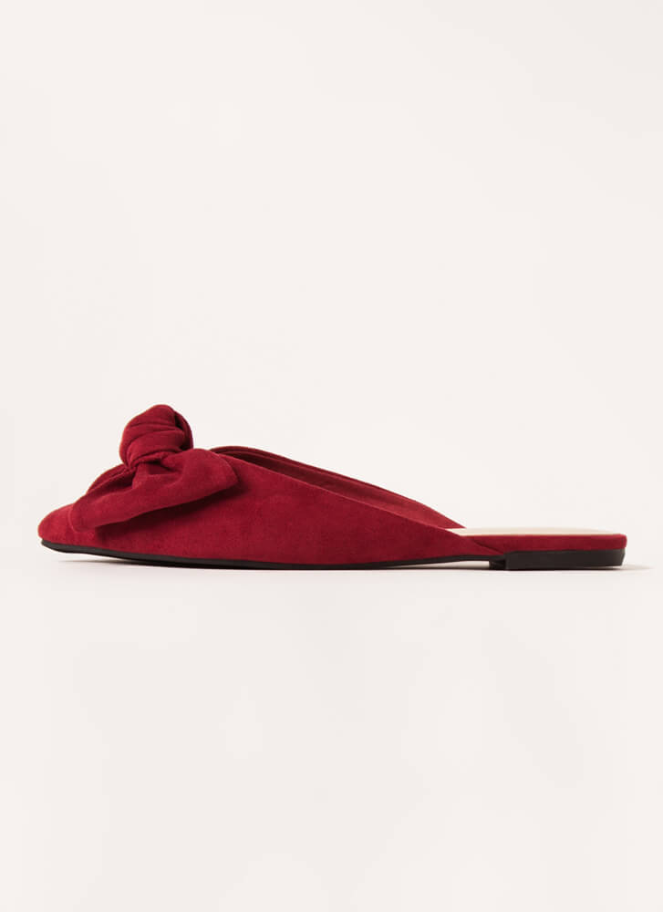 Wrapped With A Bow Pointy Mule Flats WINE