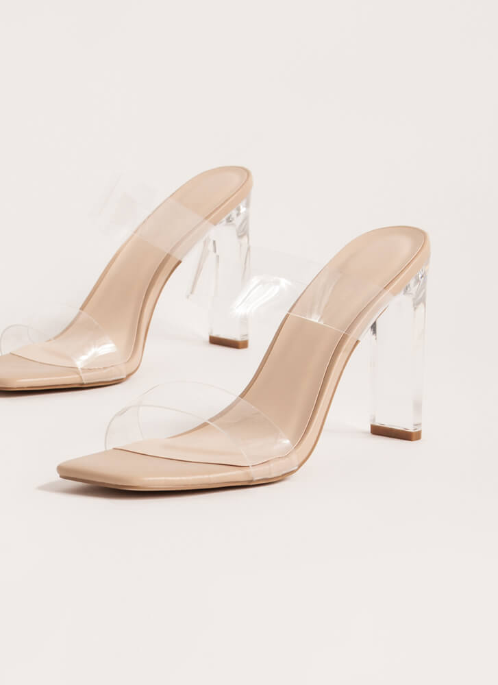 I Can See Clearly Now Lucite Heels NUDE