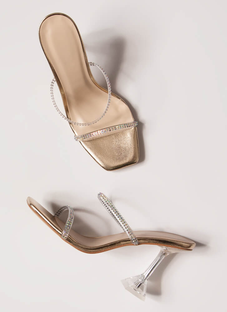 Clearly Beloved Jeweled Metallic Heels GOLD