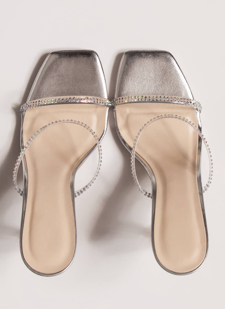 Clearly Beloved Jeweled Metallic Heels SILVER
