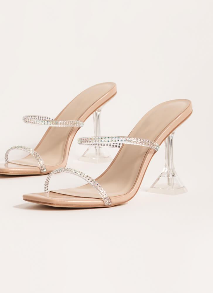 Clearly Beloved Jeweled Lucite Heels NUDE