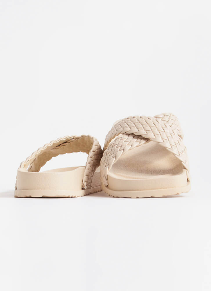 Great Weekend Woven Strap Slide Sandals IVORY