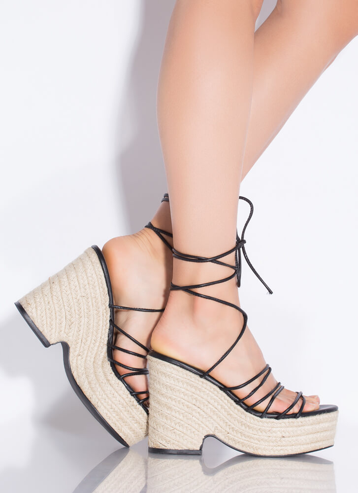 Going On Vacay Lace-Up Espadrille Wedges BLACK