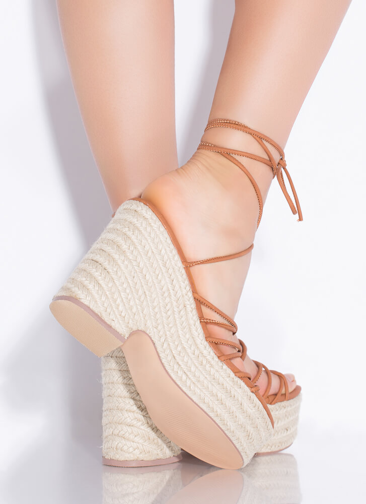 Going On Vacay Lace-Up Espadrille Wedges COGNAC