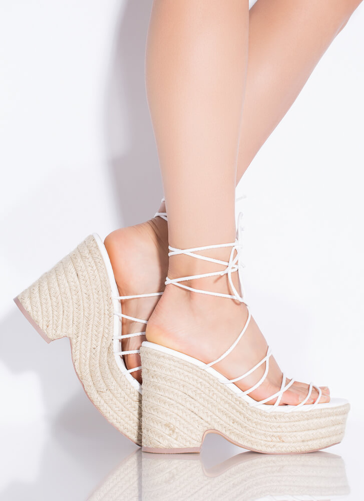 Going On Vacay Lace-Up Espadrille Wedges WHITE