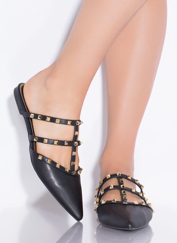 Studs And Straps Pointy Caged Flats BLACK
