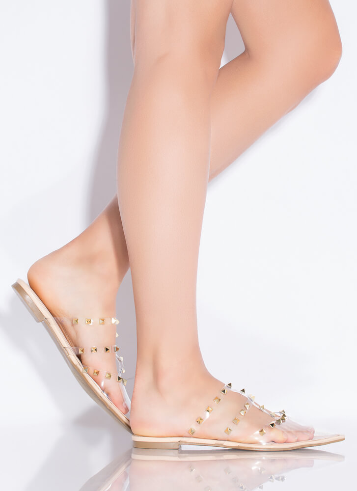 Studs And Straps Pointy Caged Flats CLEAR