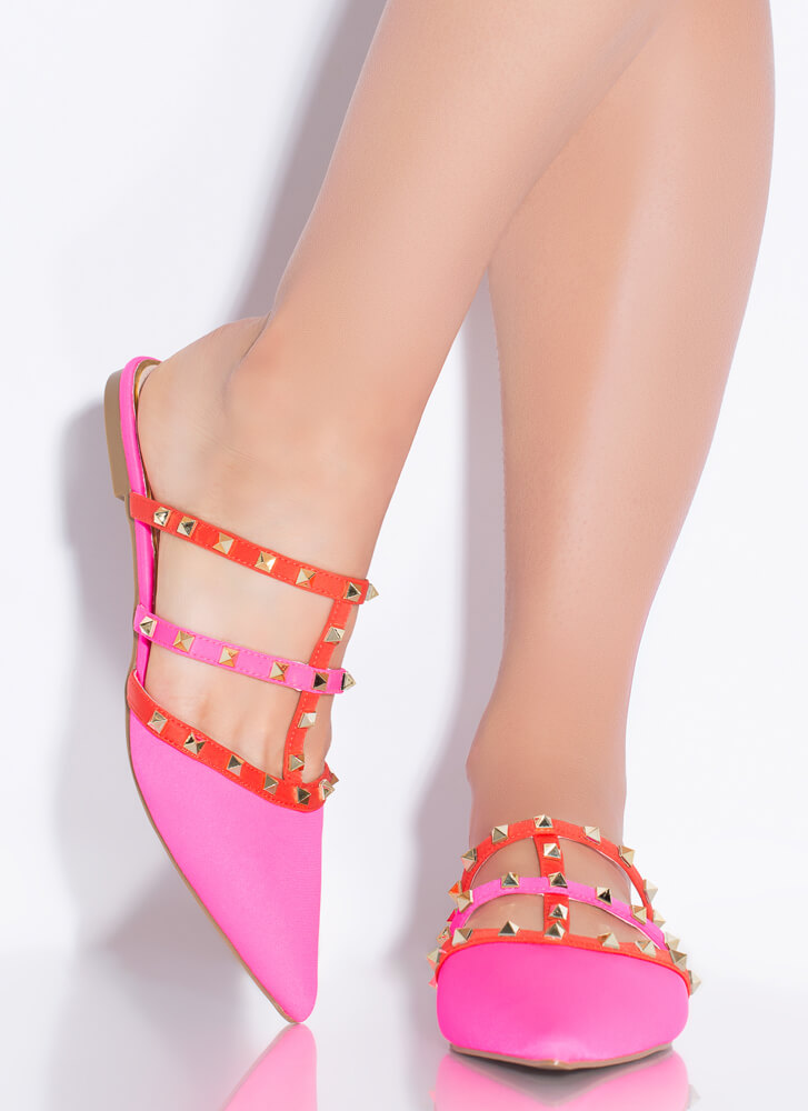 Studs And Straps Pointy Caged Flats MULTI