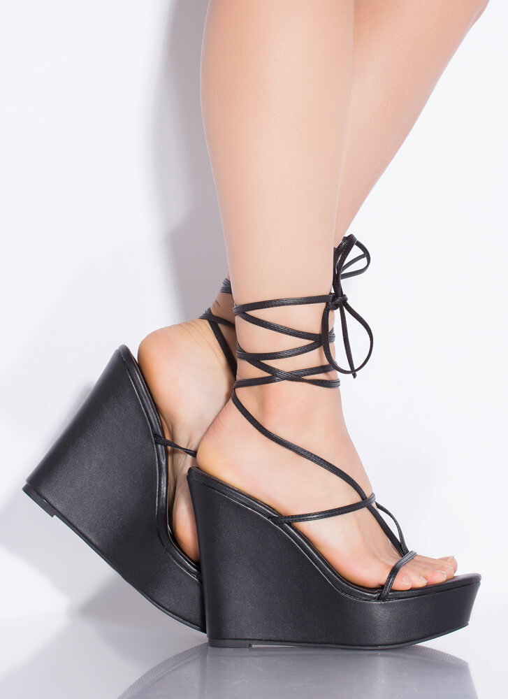 Something Sexy Lace-Up Thong Wedges BLACK