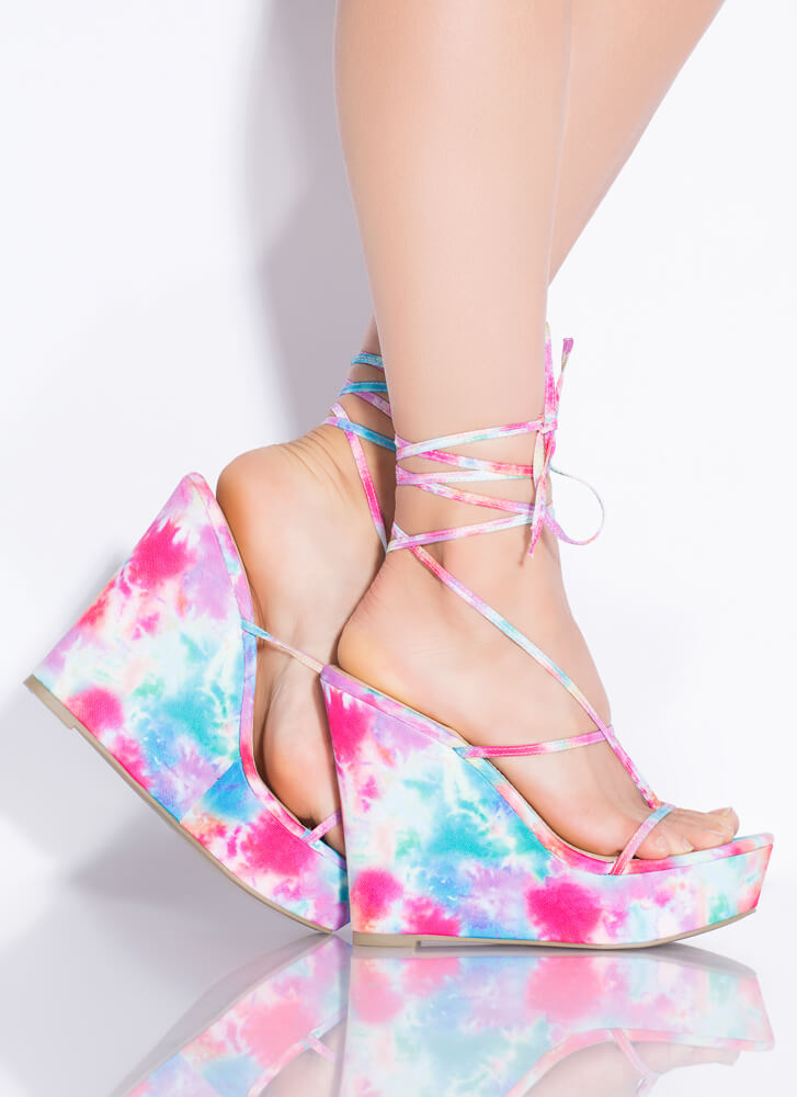 Something Sexy Lace-Up Thong Wedges MULTI