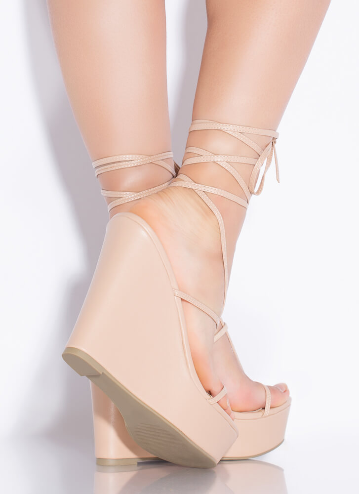 Something Sexy Lace-Up Thong Wedges NUDE