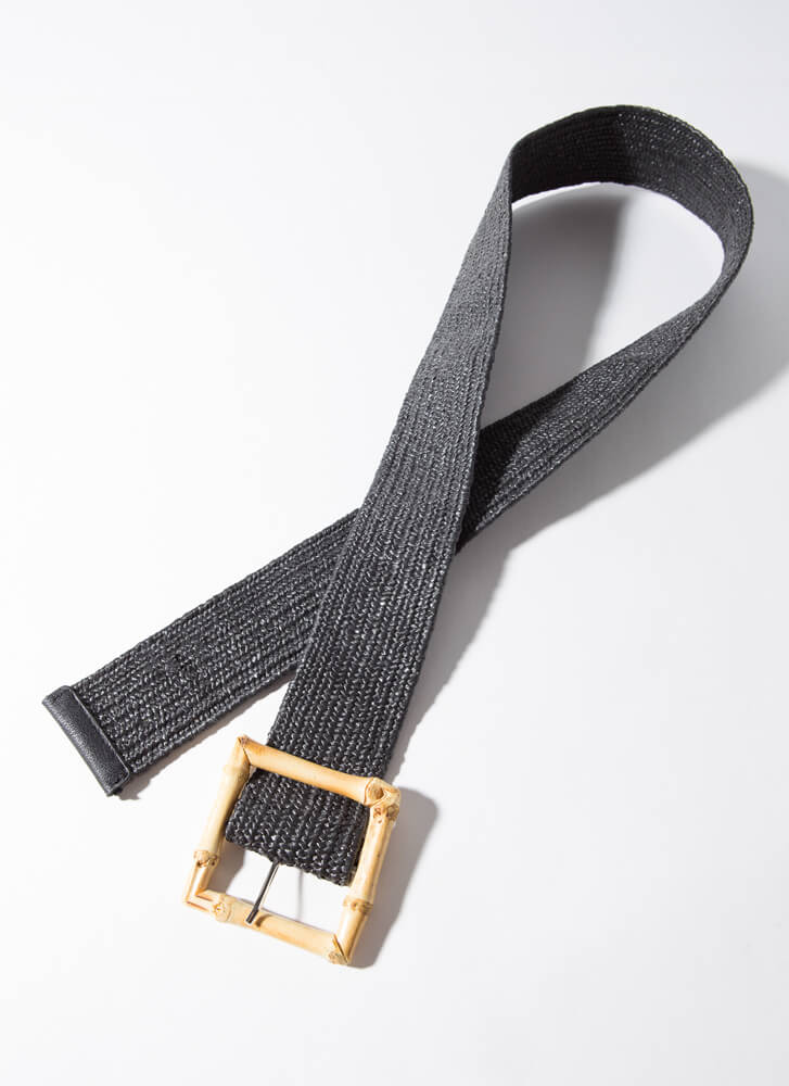 Out Of Stalk Woven Bamboo Buckle Belt BLACK