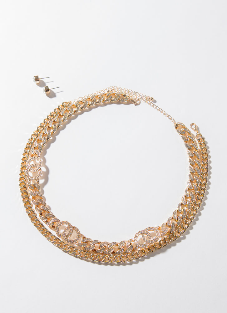 We're Linked Jewel Chain Necklace Set GOLDCLEAR