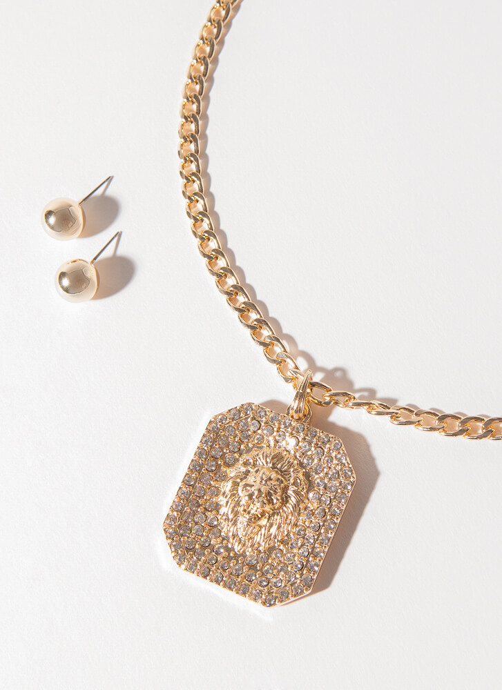 Lion's Mane Jeweled Chain Necklace Set GOLDCLEAR