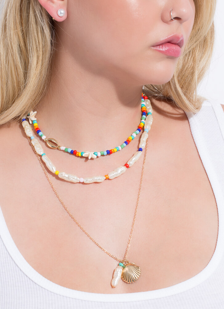 Under The Sea Beaded Shell Necklace Set GOLDMULTI