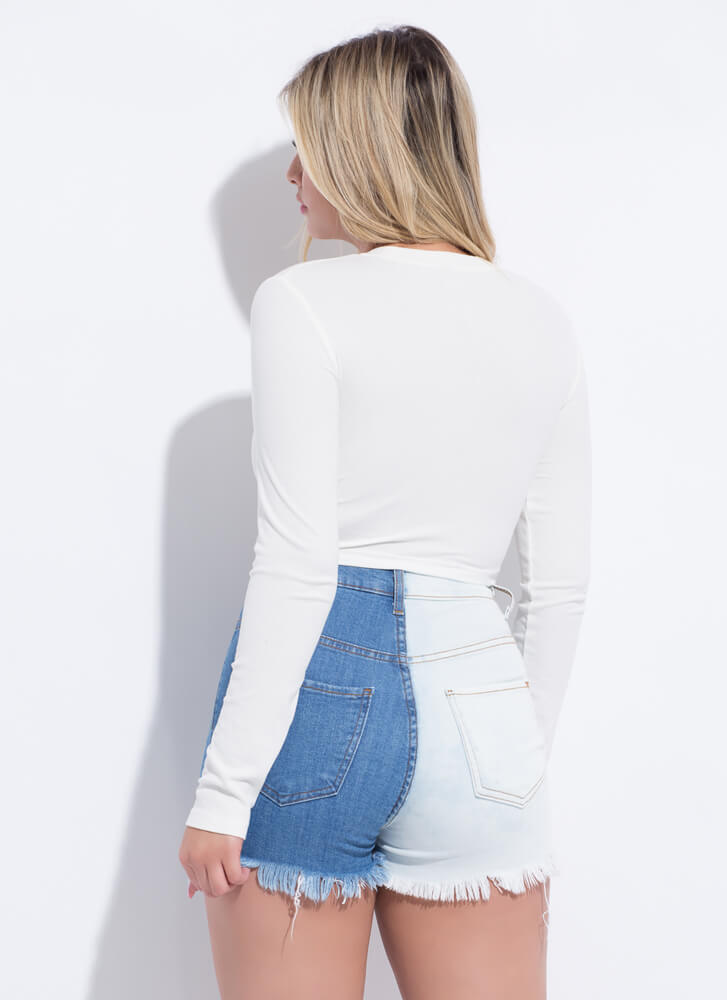 Half It Your Way Cut-Off Jean Shorts BLUEWHITE