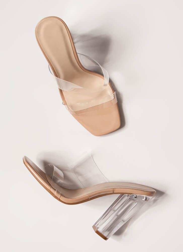 See Clearly Chunky Illusion Lucite Heels NUDE