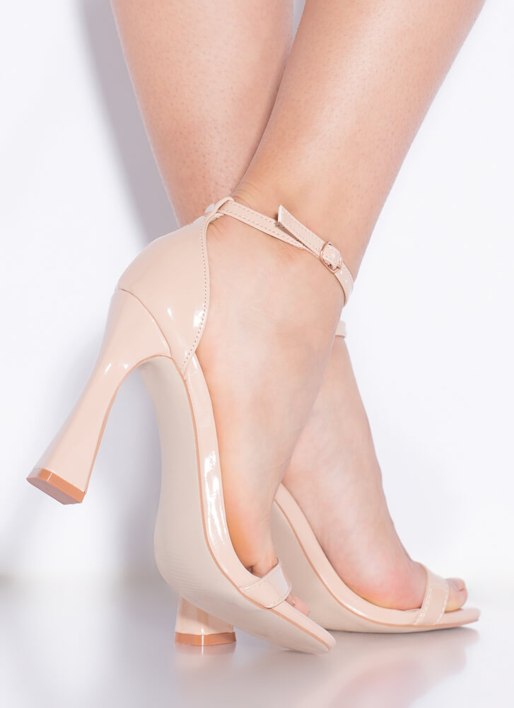 A Little Flare Strappy Faux Patent Heels NUDE