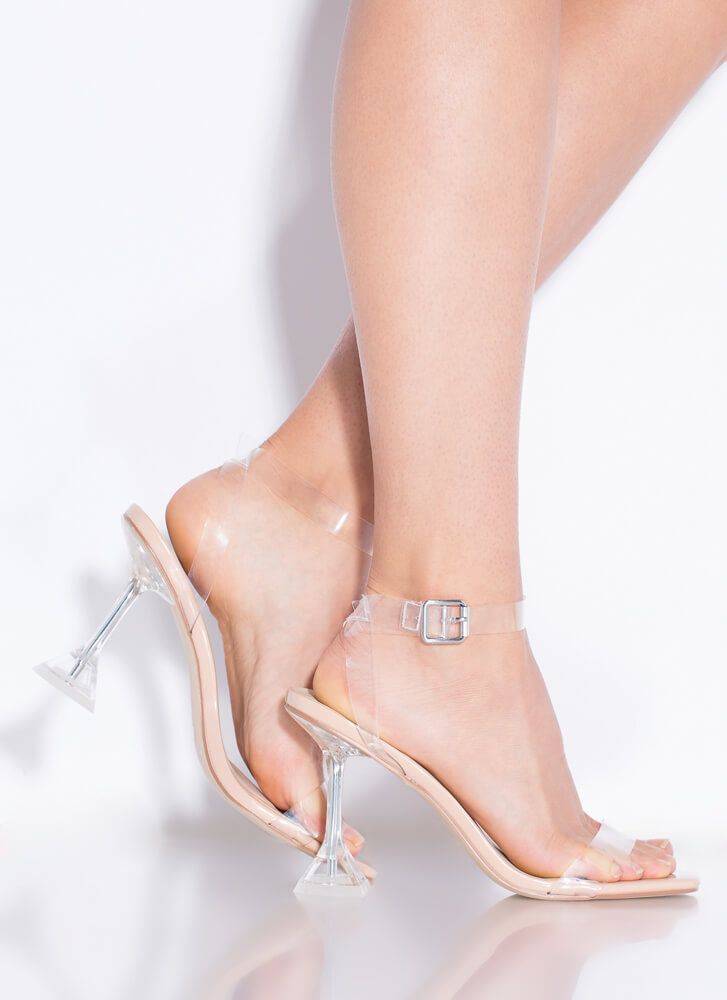 Put Me On A Pedestal Clear Heels NUDE