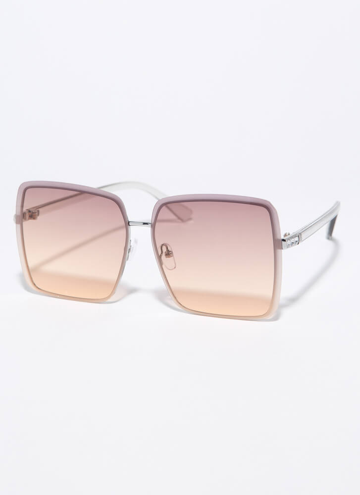 Summer Oversized Jewel Accent Sunglasses BROWN