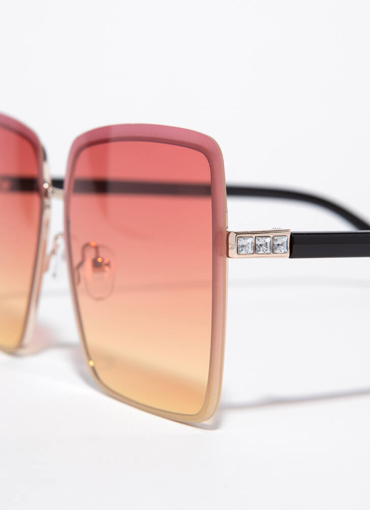 Summer Oversized Jewel Accent Sunglasses RED