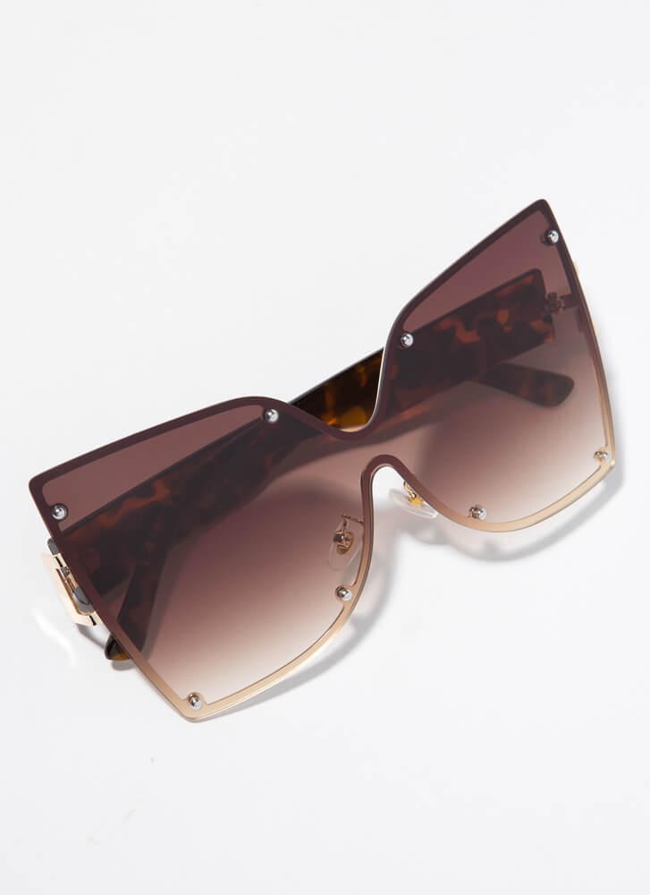 Butterfly Wings Oversized Sunglasses BROWN