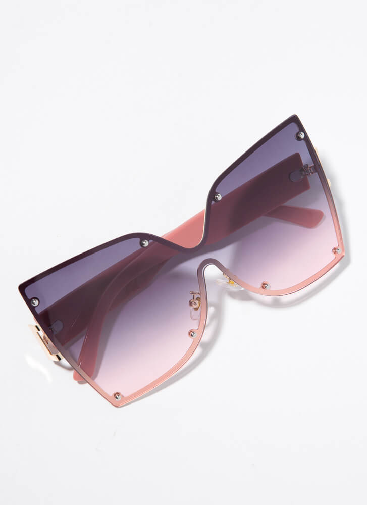 Butterfly Wings Oversized Sunglasses PINK