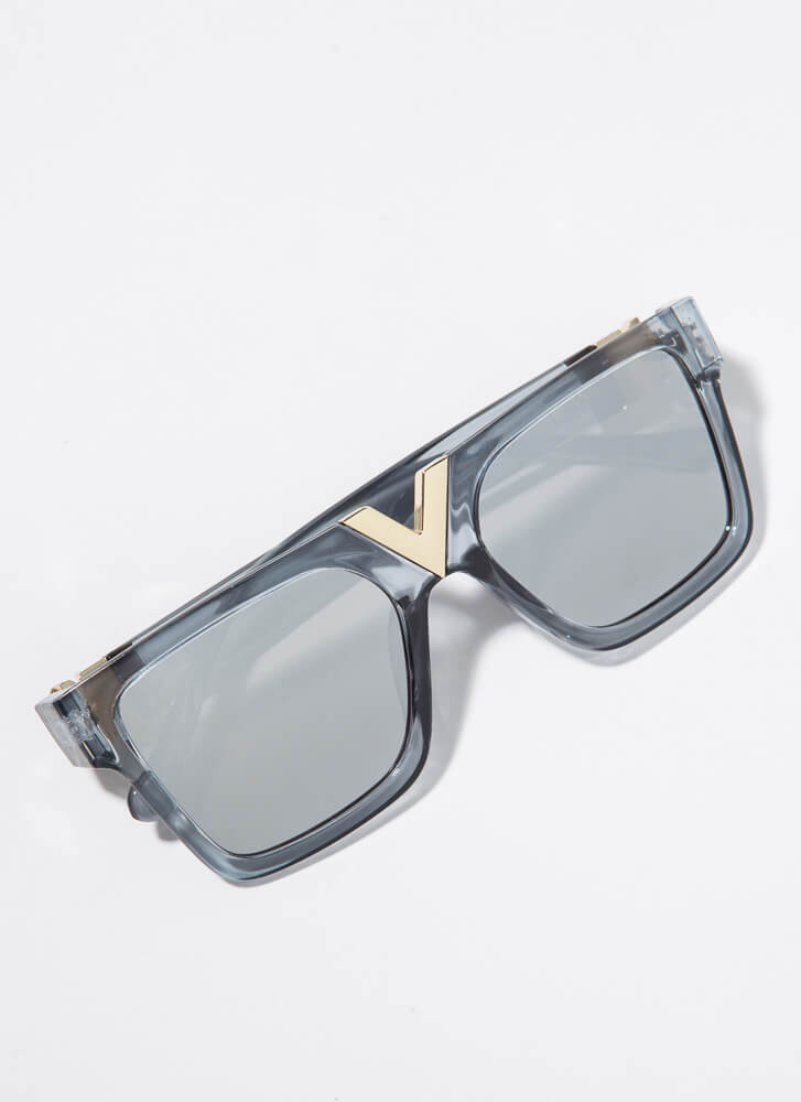 V Your Own Person Squared Sunglasses GREY