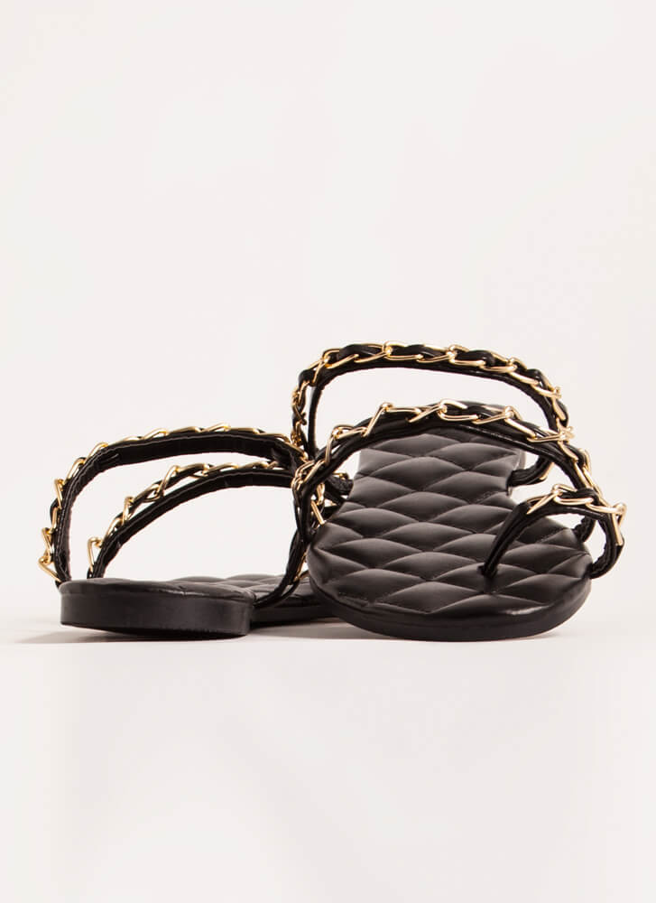 Luxe Links Quilted Chain-Strap Sandals BLACK