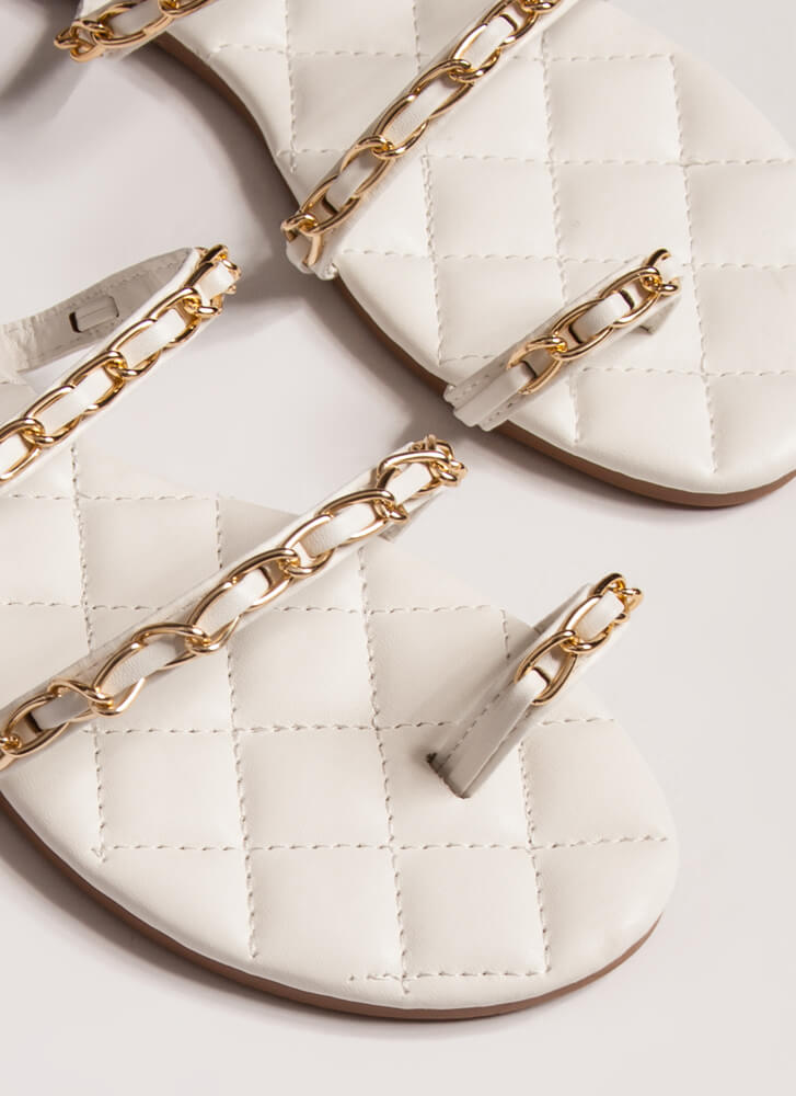 Luxe Links Quilted Chain-Strap Sandals WHITE