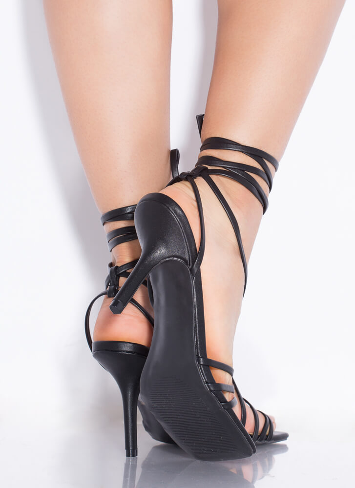 All Straps All The Time Lace-Up Heels BLACK