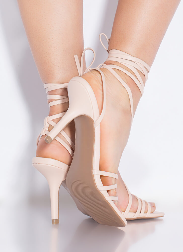 All Straps All The Time Lace-Up Heels NUDE