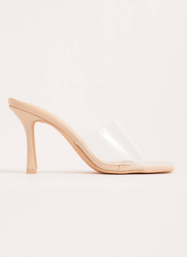 Transparency Clear Illusion Mule Heels NUDE