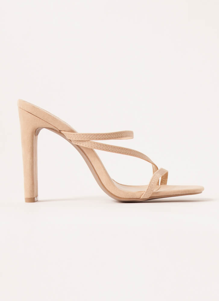 Raising The Bar Strappy Faux Suede Heels NATURAL